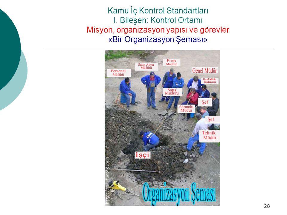 Kamu İç Kontrol Standartları I. Bileşen: Kontrol Ortamı Misyon, organizasyon yapısı ve görevler «Bir Organizasyon Şeması» 28
