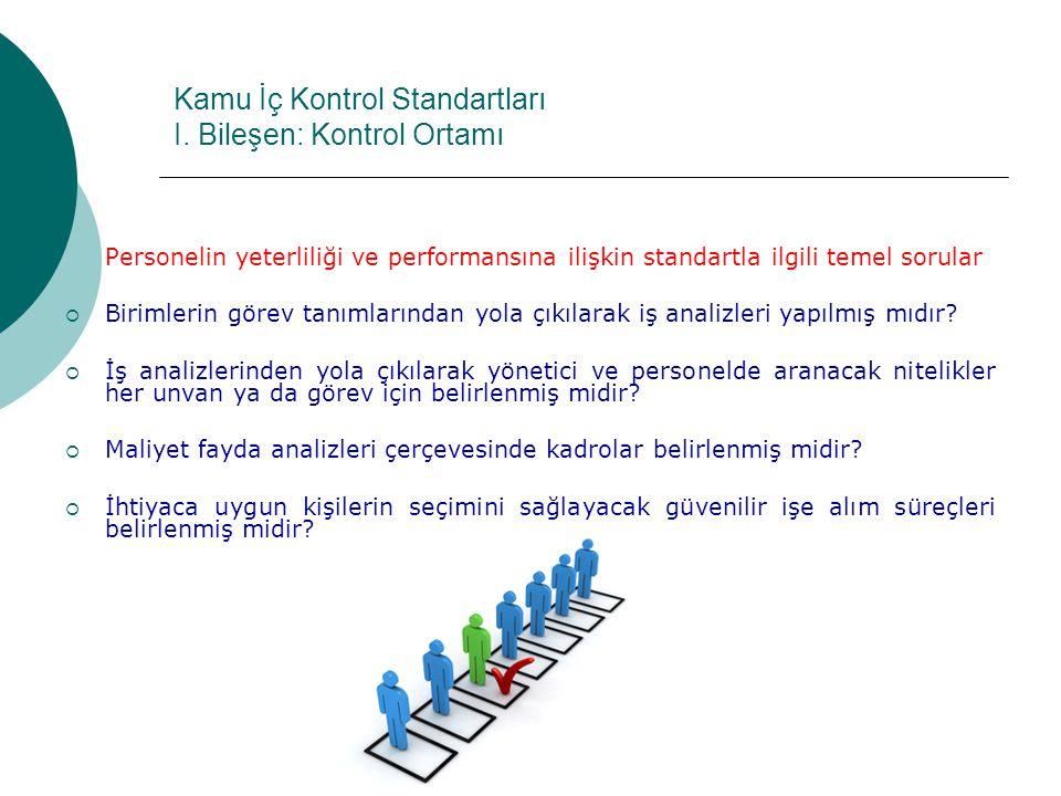 Kamu İç Kontrol Standartları I. Bileşen: Kontrol Ortamı Personelin yeterliliği ve performansına ilişkin standartla ilgili temel sorular  Birimlerin g