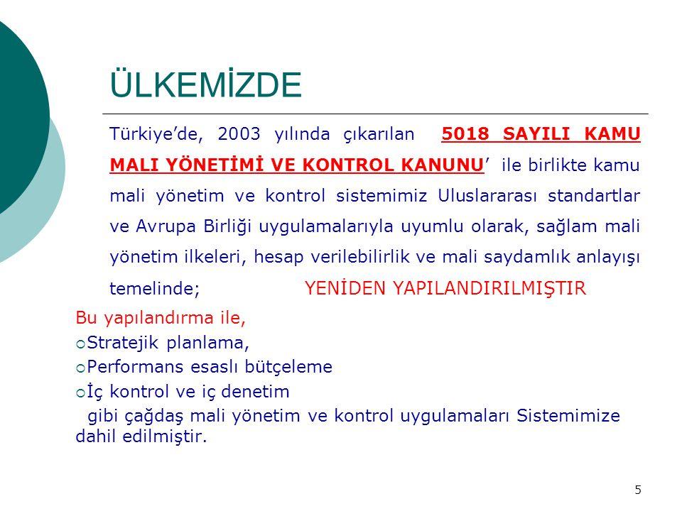 ÜLKEMİZDE Türkiye'de, 2003 yılında çıkarılan 5018 SAYILI KAMU MALI YÖNETİMİ VE KONTROL KANUNU' ile birlikte kamu mali yönetim ve kontrol sistemimiz Ul