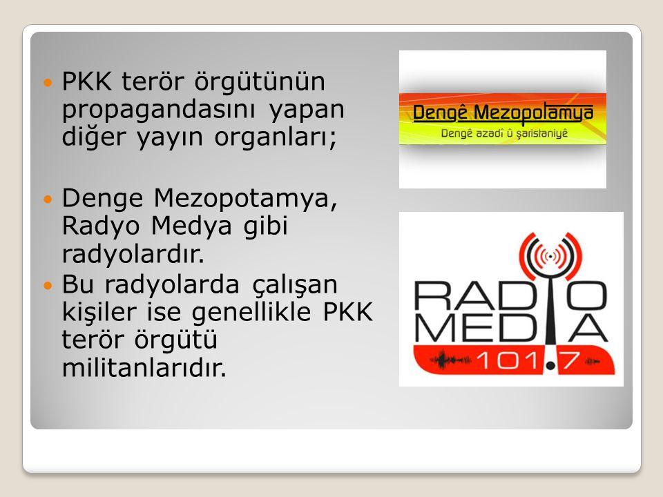  PKK terör örgütünün propagandasını yapan diğer yayın organları;  Denge Mezopotamya, Radyo Medya gibi radyolardır.