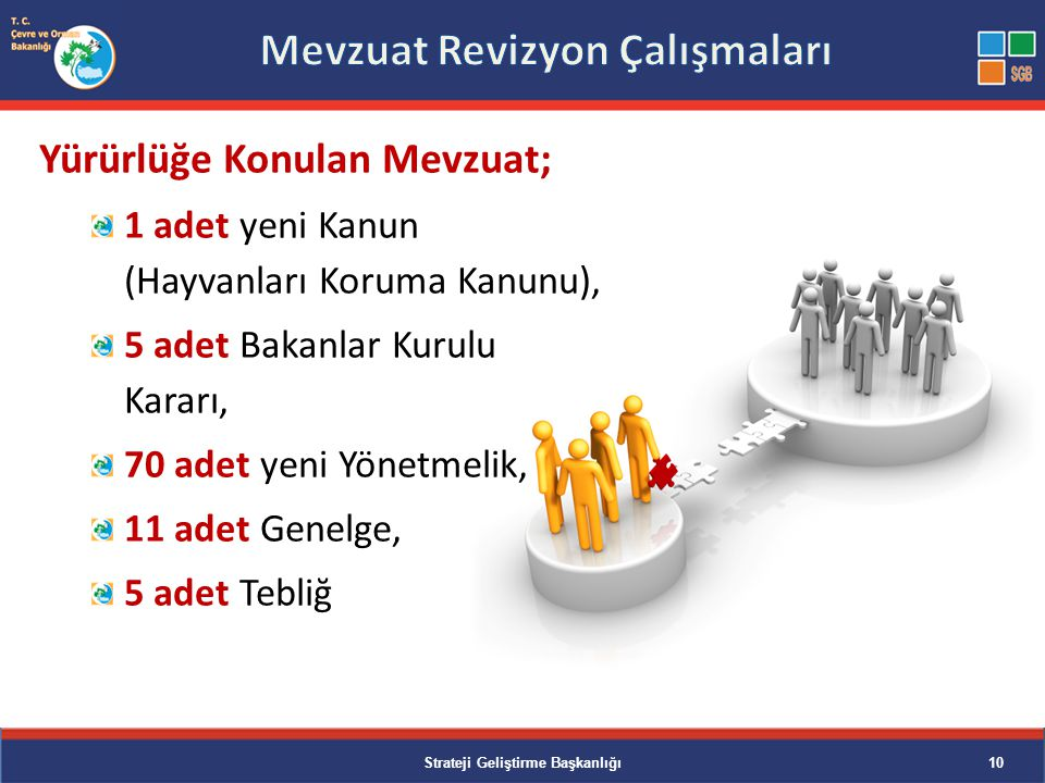 Değişiklik Yapılan Mevzuat; 3 adet Kanunda, 16 adet Yönetmelikte, 1 adet Esas ve Usullerde, 4 adet Tebliğde, 2 adet Talimat Strateji Geliştirme Başkanlığı11