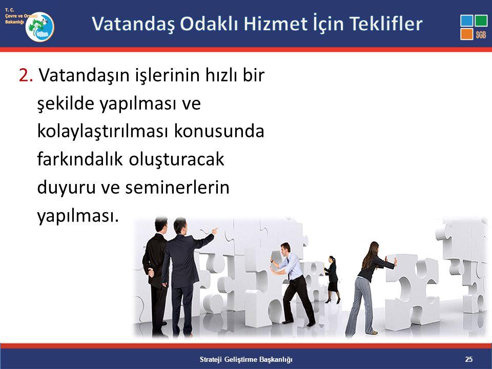 2. Vatandaşın işlerinin hızlı bir şekilde yapılması ve kolaylaştırılması konusunda farkındalık oluşturacak duyuru ve seminerlerin yapılması. Strateji