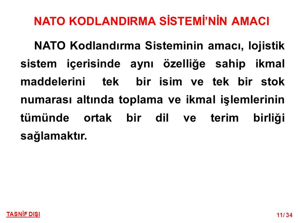 11/ 34 TASNİF DIŞI NATO KODLANDIRMA SİSTEMİ'NİN AMACI NATO Kodlandırma Sisteminin amacı, lojistik sistem içerisinde aynı özelliğe sahip ikmal maddeler