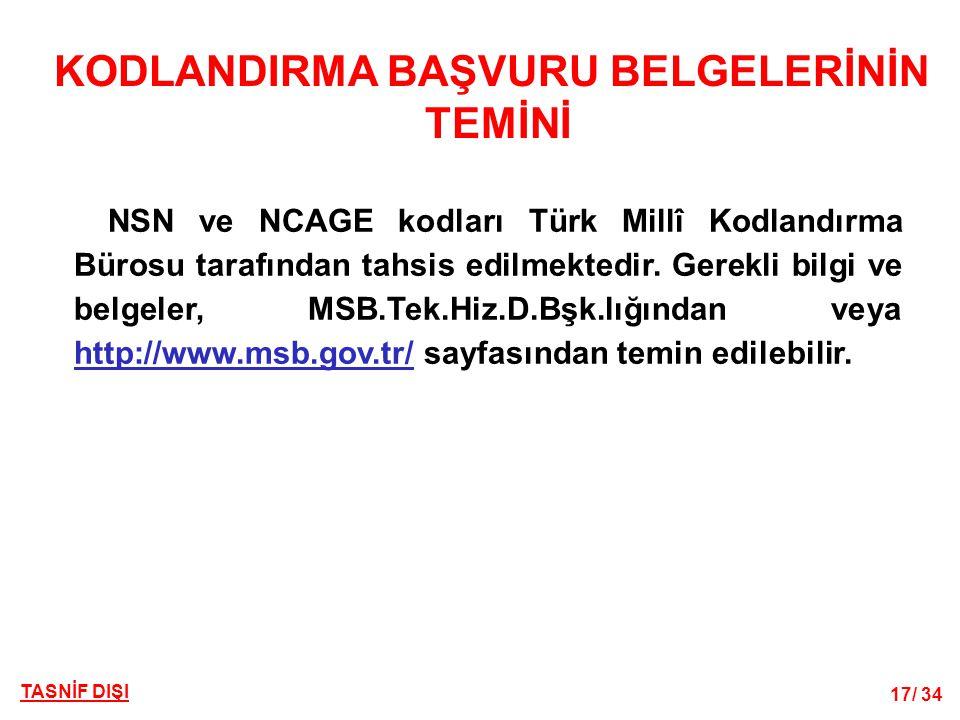 TASNİF DIŞI 17/ 34 KODLANDIRMA BAŞVURU BELGELERİNİN TEMİNİ NSN ve NCAGE kodları Türk Millî Kodlandırma Bürosu tarafından tahsis edilmektedir. Gerekli