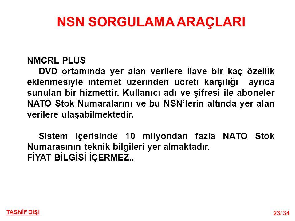 TASNİF DIŞI 23/ 34 NSN SORGULAMA ARAÇLARI NMCRL PLUS DVD ortamında yer alan verilere ilave bir kaç özellik eklenmesiyle internet üzerinden ücreti karşılığı ayrıca sunulan bir hizmettir.