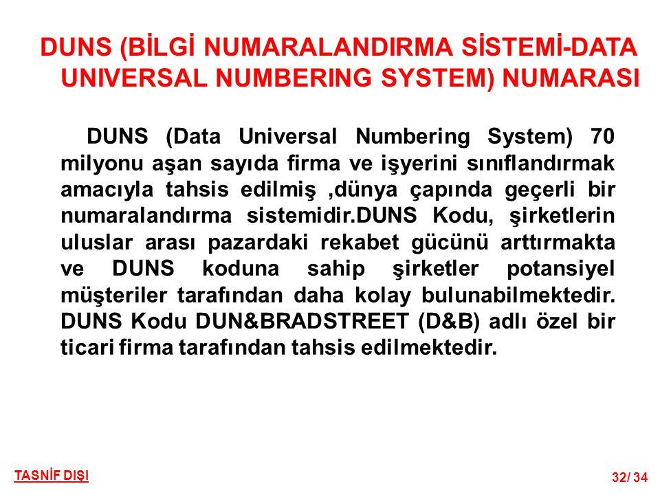 32/ 34 TASNİF DIŞI DUNS (BİLGİ NUMARALANDIRMA SİSTEMİ-DATA UNIVERSAL NUMBERING SYSTEM) NUMARASI DUNS (Data Universal Numbering System) 70 milyonu aşan sayıda firma ve işyerini sınıflandırmak amacıyla tahsis edilmiş,dünya çapında geçerli bir numaralandırma sistemidir.DUNS Kodu, şirketlerin uluslar arası pazardaki rekabet gücünü arttırmakta ve DUNS koduna sahip şirketler potansiyel müşteriler tarafından daha kolay bulunabilmektedir.