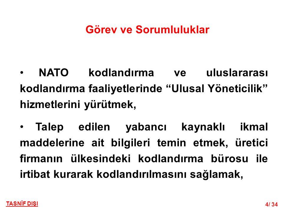 """4/ 34 TASNİF DIŞI Görev ve Sorumluluklar • NATO kodlandırma ve uluslararası kodlandırma faaliyetlerinde """"Ulusal Yöneticilik"""" hizmetlerini yürütmek, •"""