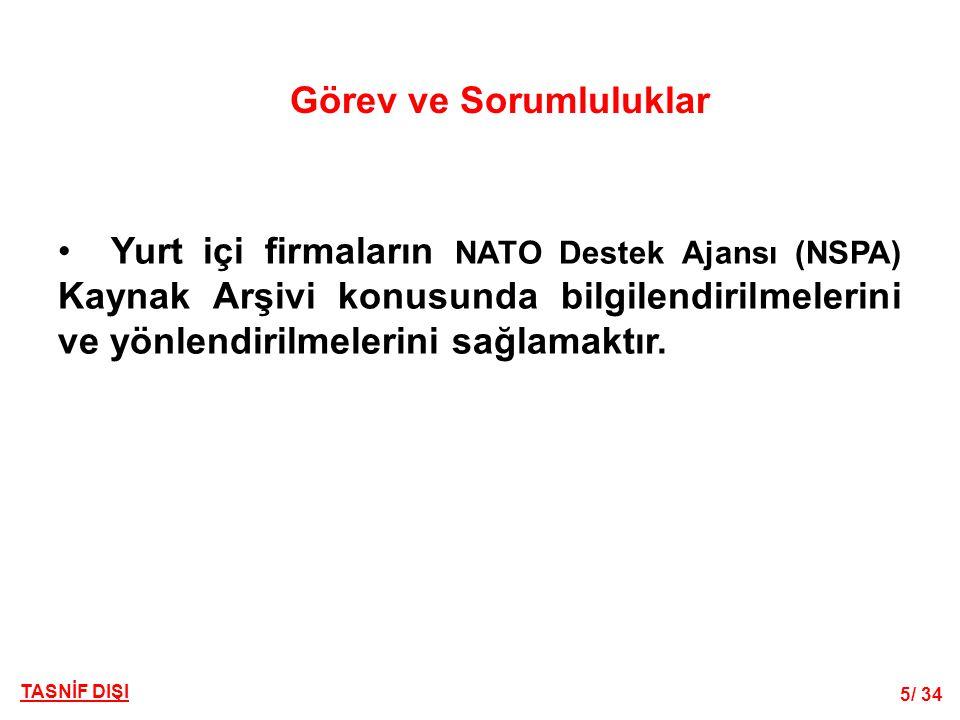 5/ 34 TASNİF DIŞI Görev ve Sorumluluklar • Yurt içi firmaların NATO Destek Ajansı (NSPA) Kaynak Arşivi konusunda bilgilendirilmelerini ve yönlendirilmelerini sağlamaktır.