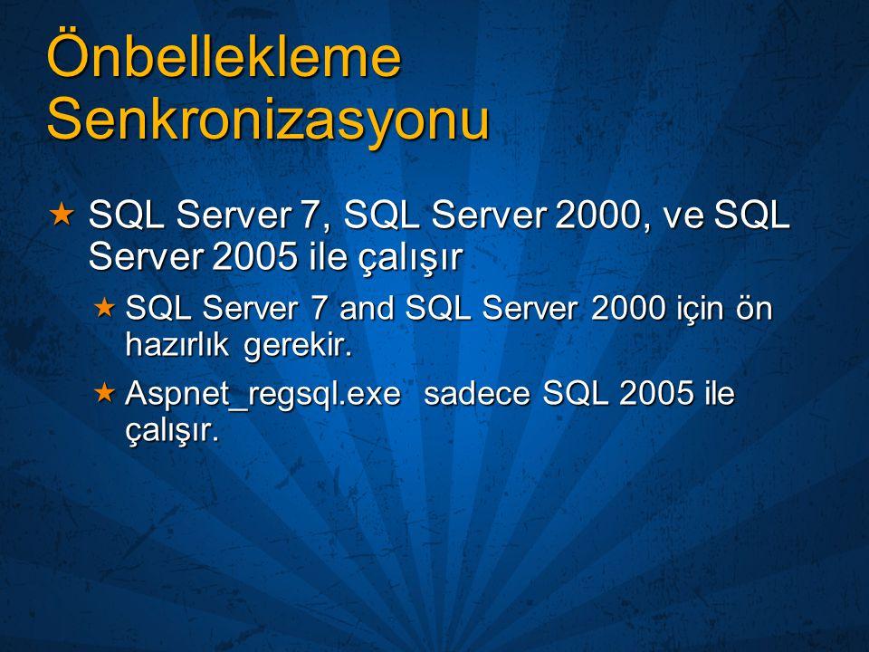 Önbellekleme Senkronizasyonu  SQL Server 7, SQL Server 2000, ve SQL Server 2005 ile çalışır  SQL Server 7 and SQL Server 2000 için ön hazırlık gerek