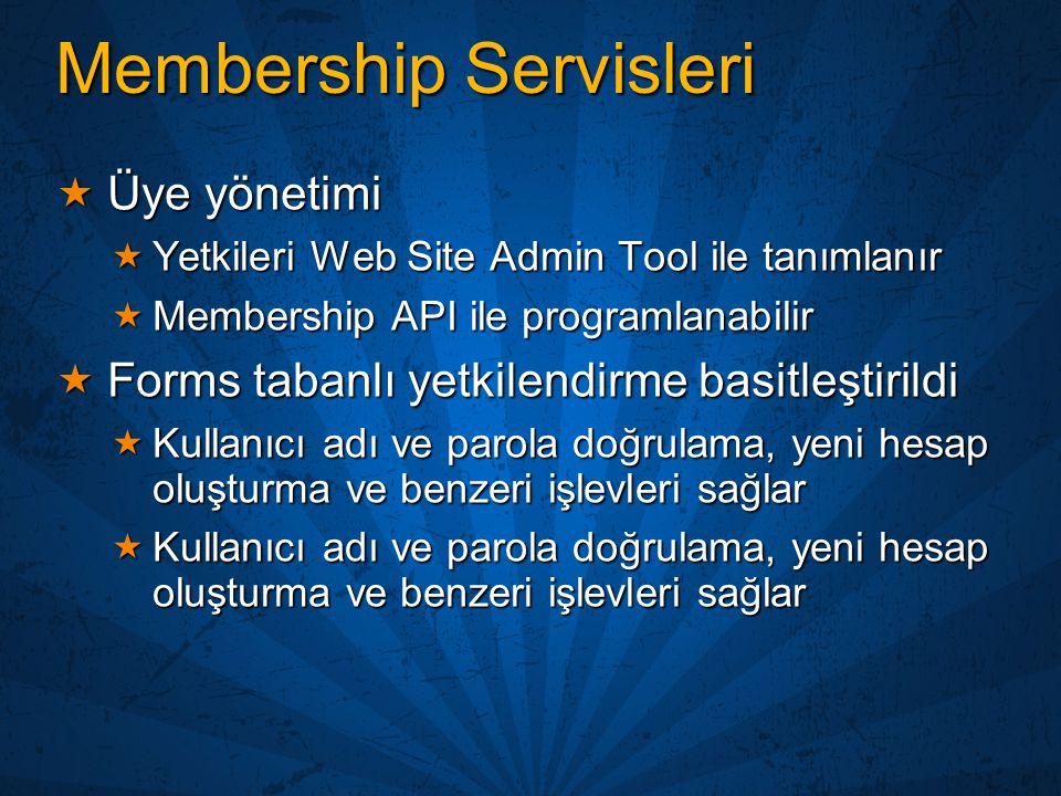 Membership Servisleri  Üye yönetimi  Yetkileri Web Site Admin Tool ile tanımlanır  Membership API ile programlanabilir  Forms tabanlı yetkilendirm