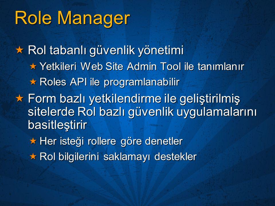 Role Manager  Rol tabanlı güvenlik yönetimi  Yetkileri Web Site Admin Tool ile tanımlanır  Roles API ile programlanabilir  Form bazlı yetkilendirm