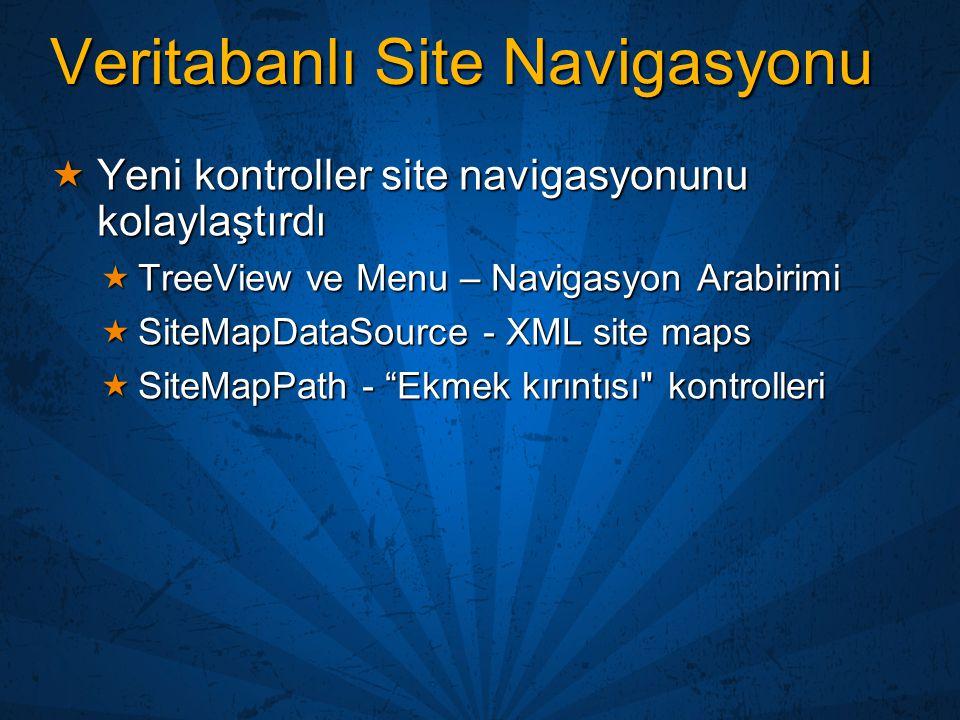 Veritabanlı Site Navigasyonu  Yeni kontroller site navigasyonunu kolaylaştırdı  TreeView ve Menu – Navigasyon Arabirimi  SiteMapDataSource - XML si