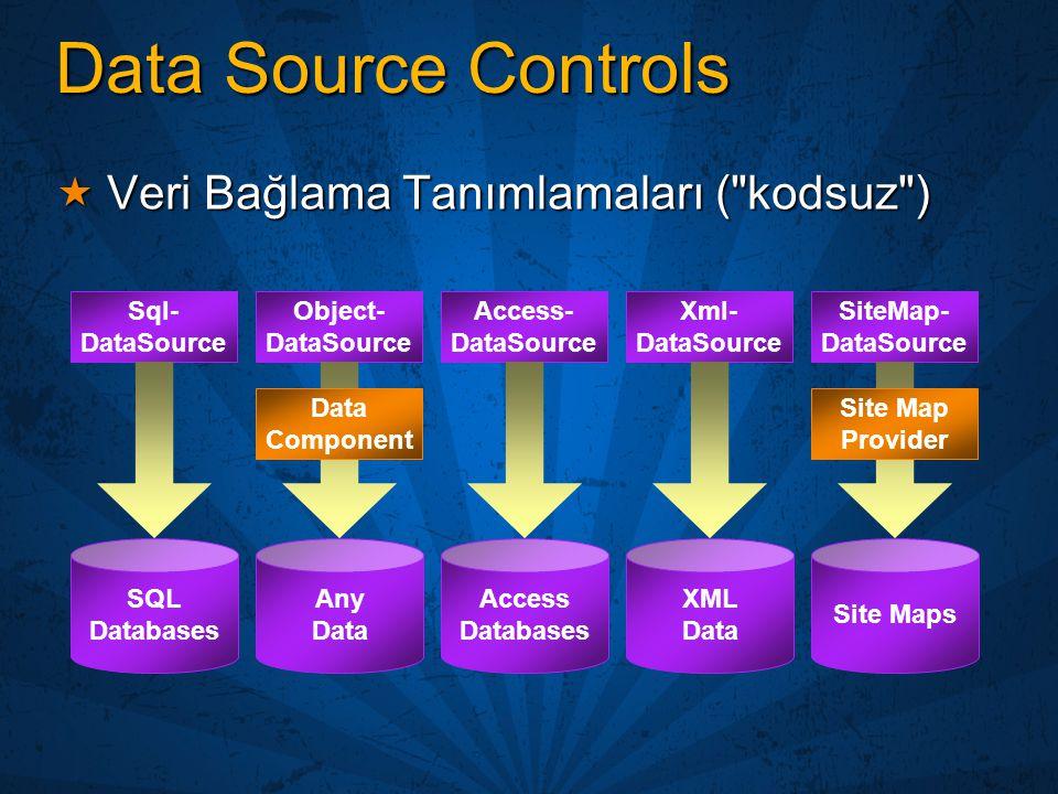 Data Source Controls  Veri Bağlama Tanımlamaları (