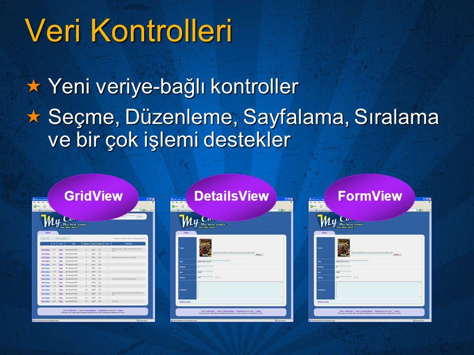 Veri Kontrolleri  Yeni veriye-bağlı kontroller  Seçme, Düzenleme, Sayfalama, Sıralama ve bir çok işlemi destekler GridViewDetailsViewFormView