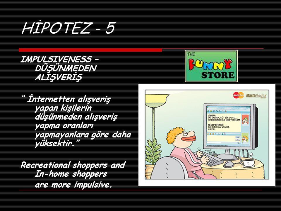 """HİPOTEZ - 5 IMPULSIVENESS – DÜŞÜNMEDEN ALIŞVERİŞ """" İnternetten alışveriş yapan kişilerin düşünmeden alışveriş yapma oranları yapmayanlara göre daha yü"""