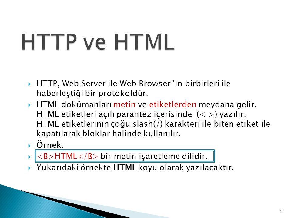  HTTP, Web Server ile Web Browser 'ın birbirleri ile haberleştiği bir protokoldür.