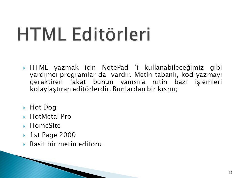  HTML yazmak için NotePad 'i kullanabileceğimiz gibi yardımcı programlar da vardır.