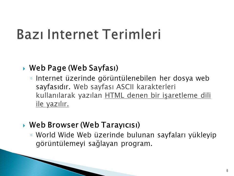  Web Server ◦ HTML sayfalarını, Web Tarayıcınıza gönderen Internet üzerindeki sunucu makinelerde çalışan programdır.