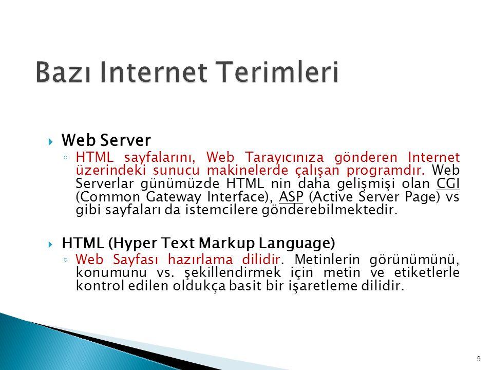  URL (Uniform Resource Locator) ◦ Internet üzerideki adreslerin genel adıdır.