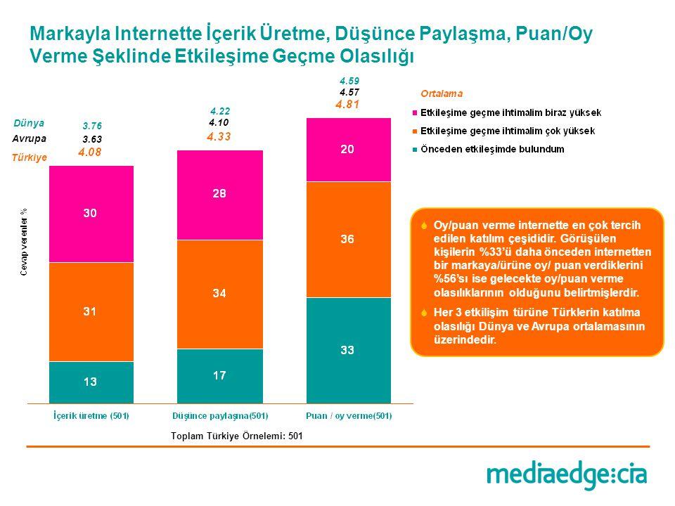 Toplam Türkiye Örnelemi: 501  Oy/puan verme internette en çok tercih edilen katılım çeşididir. Görüşülen kişilerin %33'ü daha önceden internetten bir