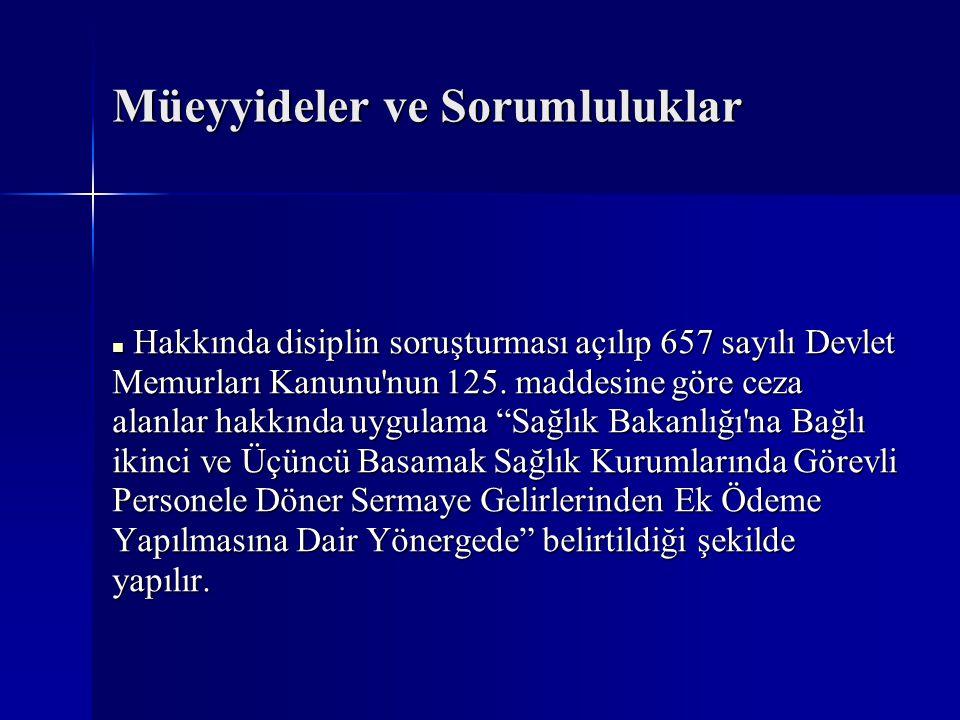 Müeyyideler ve Sorumluluklar  Hakkında disiplin soruşturması açılıp 657 sayılı Devlet Memurları Kanunu'nun 125. maddesine göre ceza alanlar hakkında