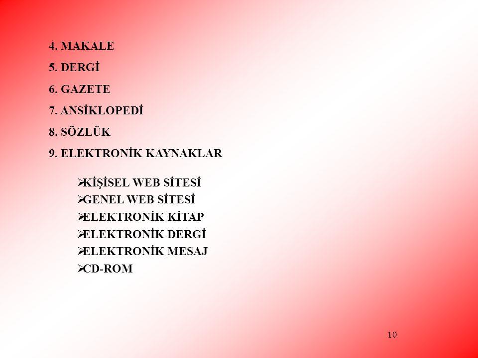 10 4. MAKALE 5. DERGİ 6. GAZETE 7. ANSİKLOPEDİ 8. SÖZLÜK 9. ELEKTRONİK KAYNAKLAR  KİŞİSEL WEB SİTESİ  GENEL WEB SİTESİ  ELEKTRONİK KİTAP  ELEKTRON