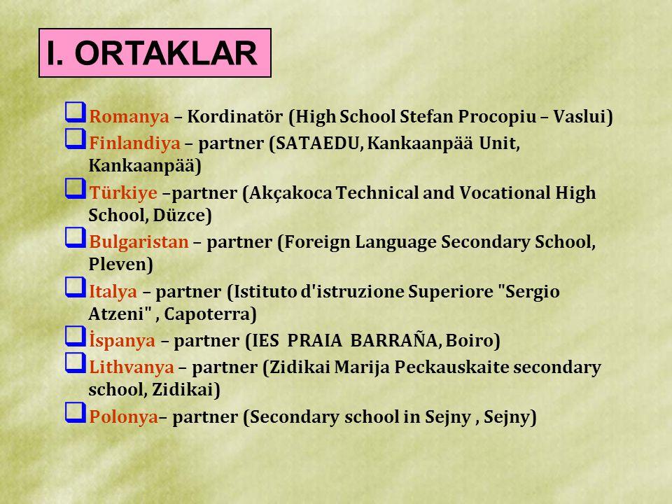  Romanya – Kordinatör (High School Stefan Procopiu – Vaslui)  Finlandiya – partner (SATAEDU, Kankaanpää Unit, Kankaanpää)  Türkiye –partner (Akçako