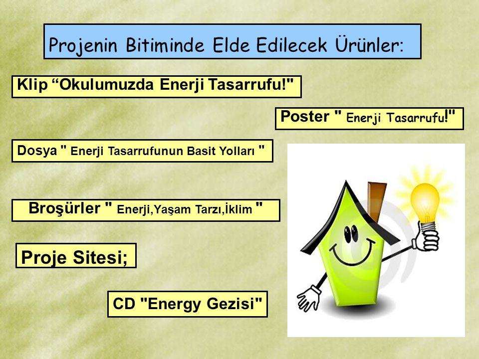 """Projenin Bitiminde Elde Edilecek Ürünler : Proje Sitesi; Klip """"Okulumuzda Enerji Tasarrufu!"""