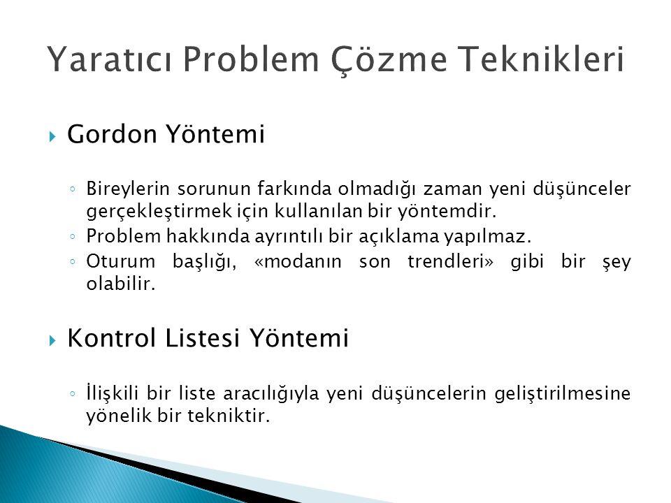  Gordon Yöntemi ◦ Bireylerin sorunun farkında olmadığı zaman yeni düşünceler gerçekleştirmek için kullanılan bir yöntemdir. ◦ Problem hakkında ayrınt