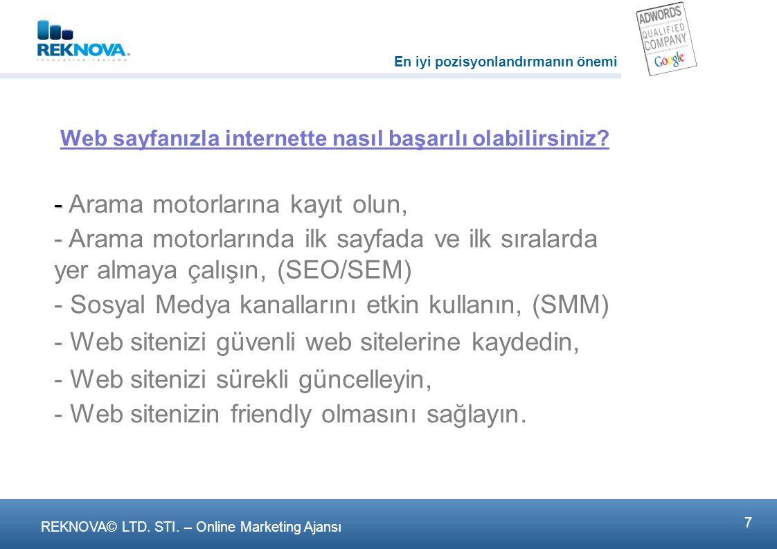 REKNOVA© LTD. STI. – Online Marketing Ajansι 1818. Sosyal Medya (SMM)