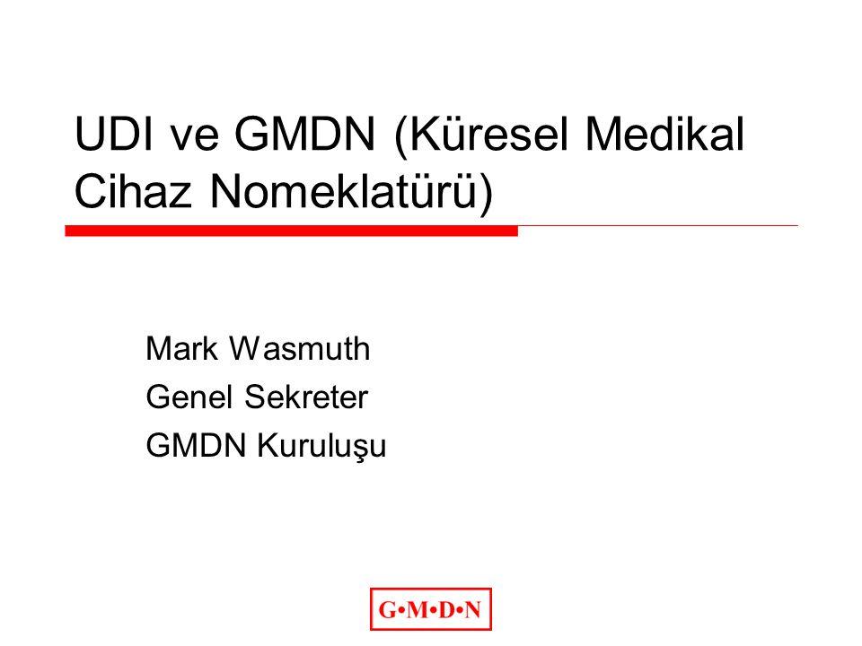 GMDN ve UDI  GHTF (FDA öncülüğünü izleyerek) UDI ve UDI veri tabanları (Ana veri) hakkında kılavuz hazırlamaktadır.