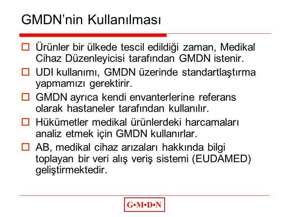 GMDN'nin Kullanılması  Ürünler bir ülkede tescil edildiği zaman, Medikal Cihaz Düzenleyicisi tarafından GMDN istenir.