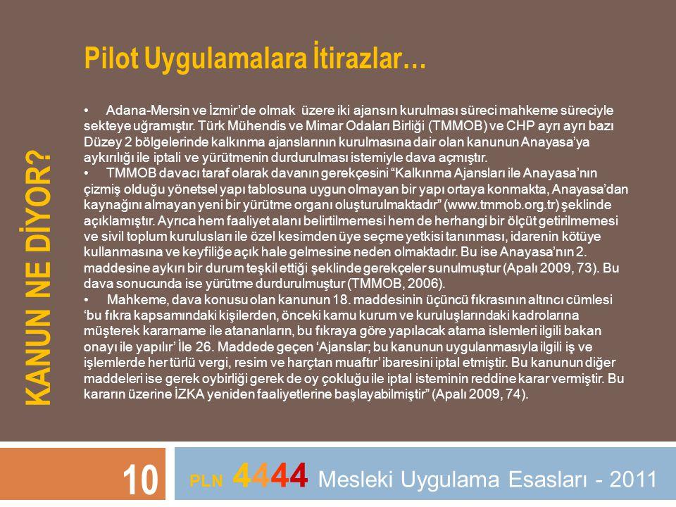 KANUN NE DİYOR? 10 PLN 4444 Mesleki Uygulama Esasları - 2011 Pilot Uygulamalara İtirazlar… • Adana-Mersin ve İzmir'de olmak üzere iki ajansın kurulmas