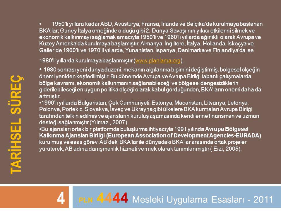 TARİHSEL SÜREÇ 4 PLN 4444 Mesleki Uygulama Esasları - 2011 • 1950'li yıllara kadar ABD, Avusturya, Fransa, İrlanda ve Belçika'da kurulmaya başlanan BK