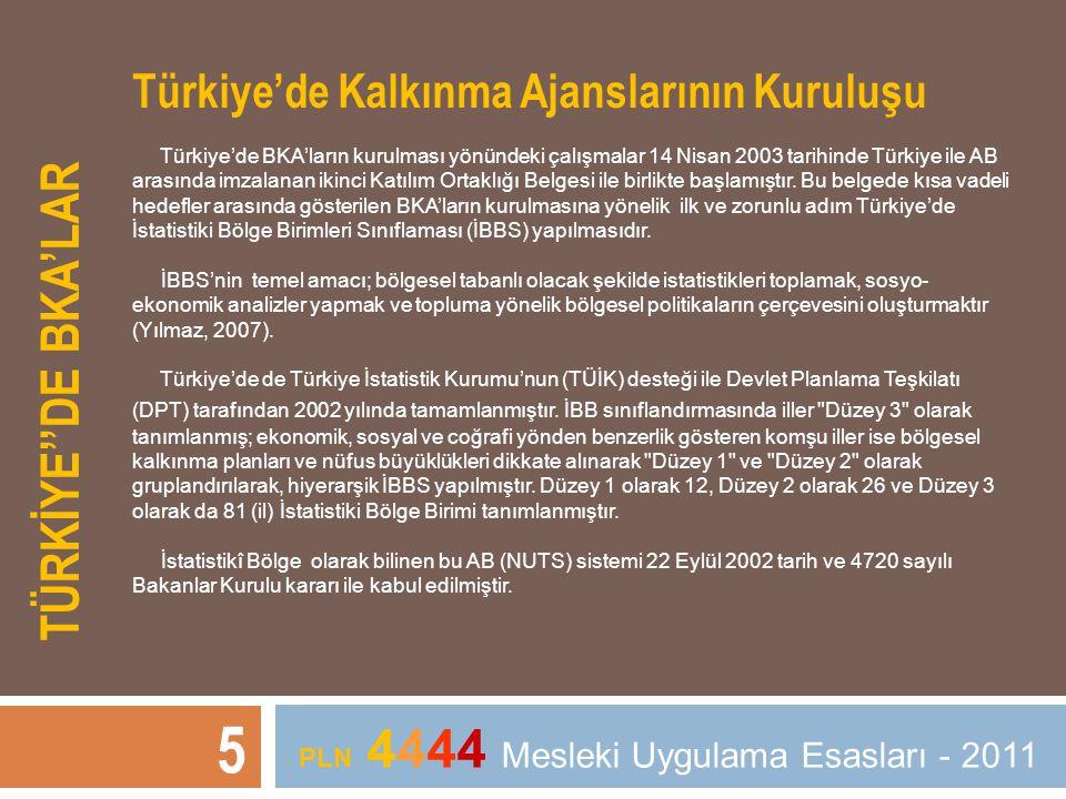 TÜRKİYE''DE BKA'LAR 5 PLN 4444 Mesleki Uygulama Esasları - 2011 Türkiye'de Kalkınma Ajanslarının Kuruluşu Türkiye'de BKA'ların kurulması yönündeki çal