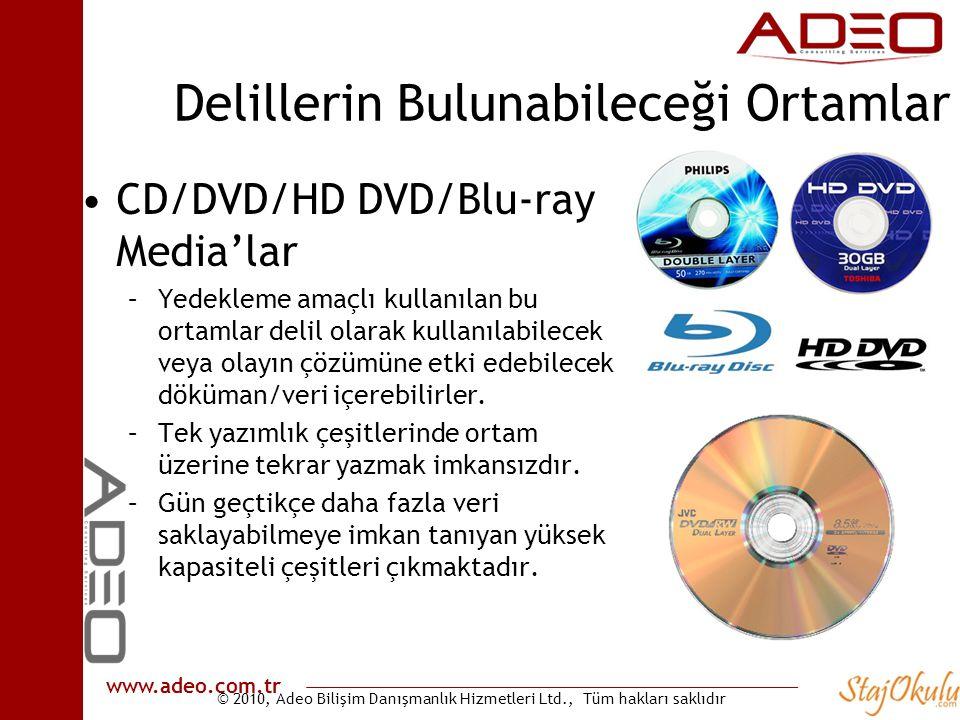 © 2010, Adeo Bilişim Danışmanlık Hizmetleri Ltd., Tüm hakları saklıdır www.adeo.com.tr Delillerin Bulunabileceği Ortamlar •CD/DVD/HD DVD/Blu-ray Media'lar –Yedekleme amaçlı kullanılan bu ortamlar delil olarak kullanılabilecek veya olayın çözümüne etki edebilecek döküman/veri içerebilirler.