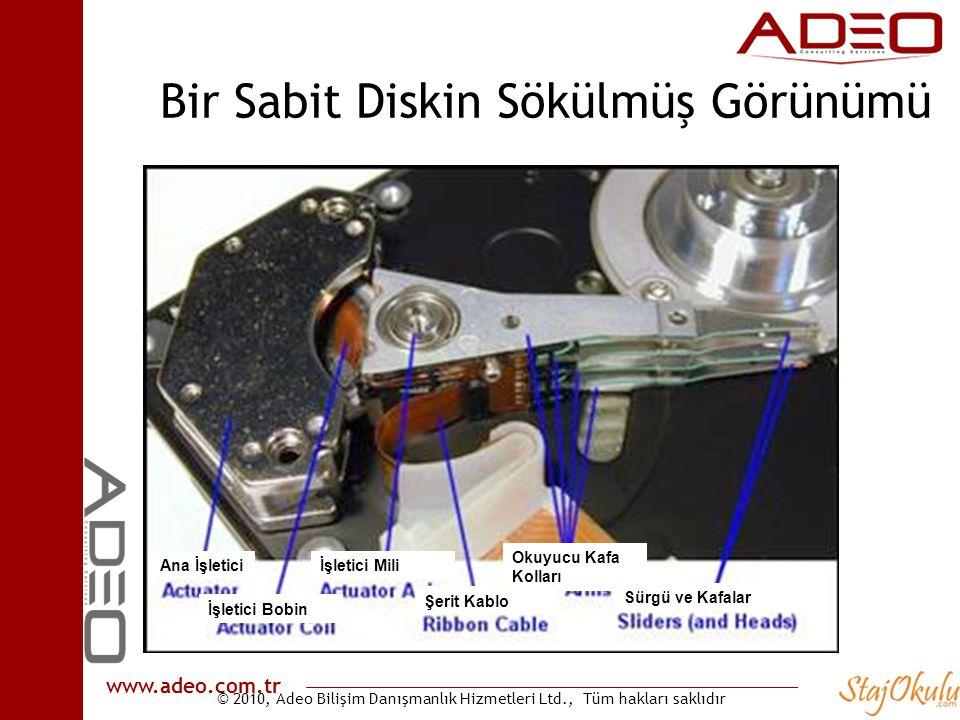 © 2010, Adeo Bilişim Danışmanlık Hizmetleri Ltd., Tüm hakları saklıdır www.adeo.com.tr Bir Sabit Diskin Sökülmüş Görünümü Ana İşletici İşletici Bobin İşletici Mili Okuyucu Kafa Kolları Şerit Kablo Sürgü ve Kafalar