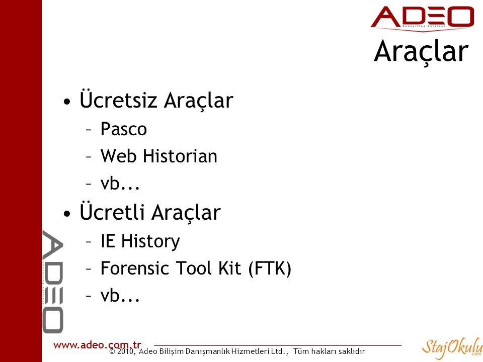 © 2010, Adeo Bilişim Danışmanlık Hizmetleri Ltd., Tüm hakları saklıdır www.adeo.com.tr Araçlar •Ücretsiz Araçlar –Pasco –Web Historian –vb... •Ücretli
