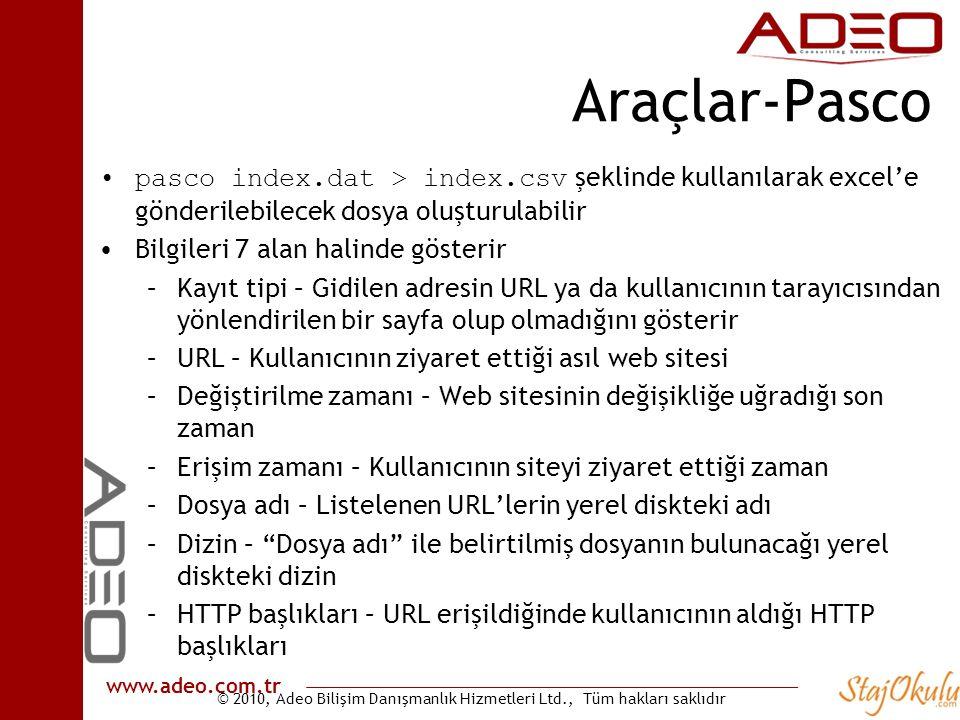 © 2010, Adeo Bilişim Danışmanlık Hizmetleri Ltd., Tüm hakları saklıdır www.adeo.com.tr Araçlar-Pasco •pasco index.dat > index.csv şeklinde kullanılara