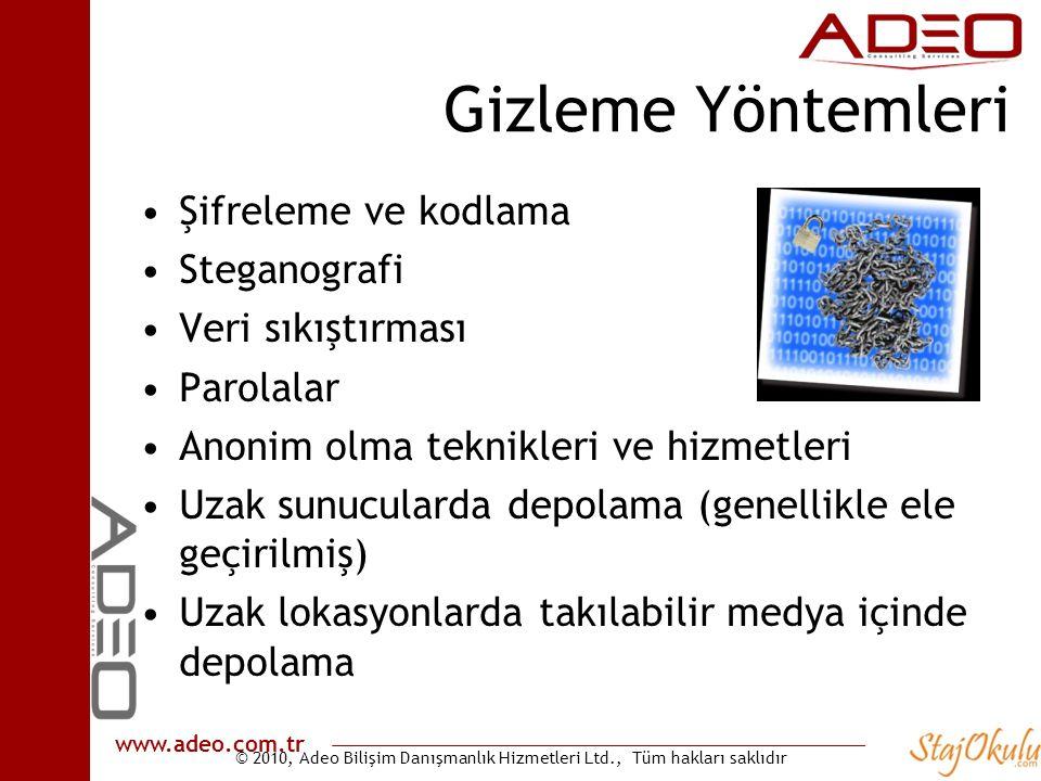© 2010, Adeo Bilişim Danışmanlık Hizmetleri Ltd., Tüm hakları saklıdır www.adeo.com.tr Gizleme Yöntemleri •Şifreleme ve kodlama •Steganografi •Veri sı
