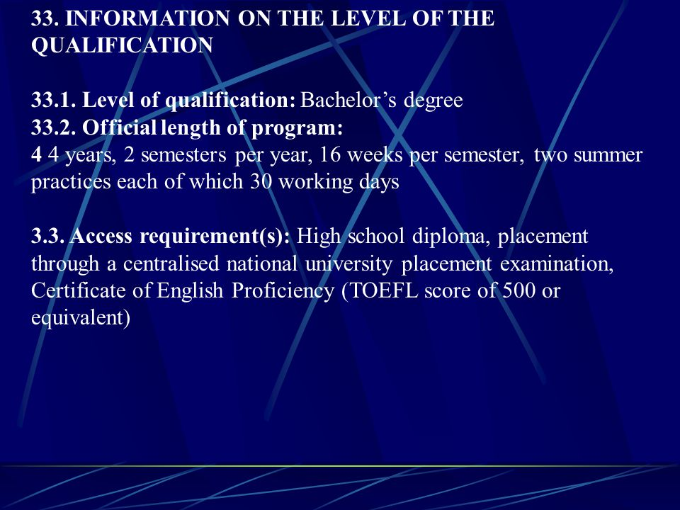 33.INFORMATION ON THE LEVEL OF THE QUALIFICATION 33.1.