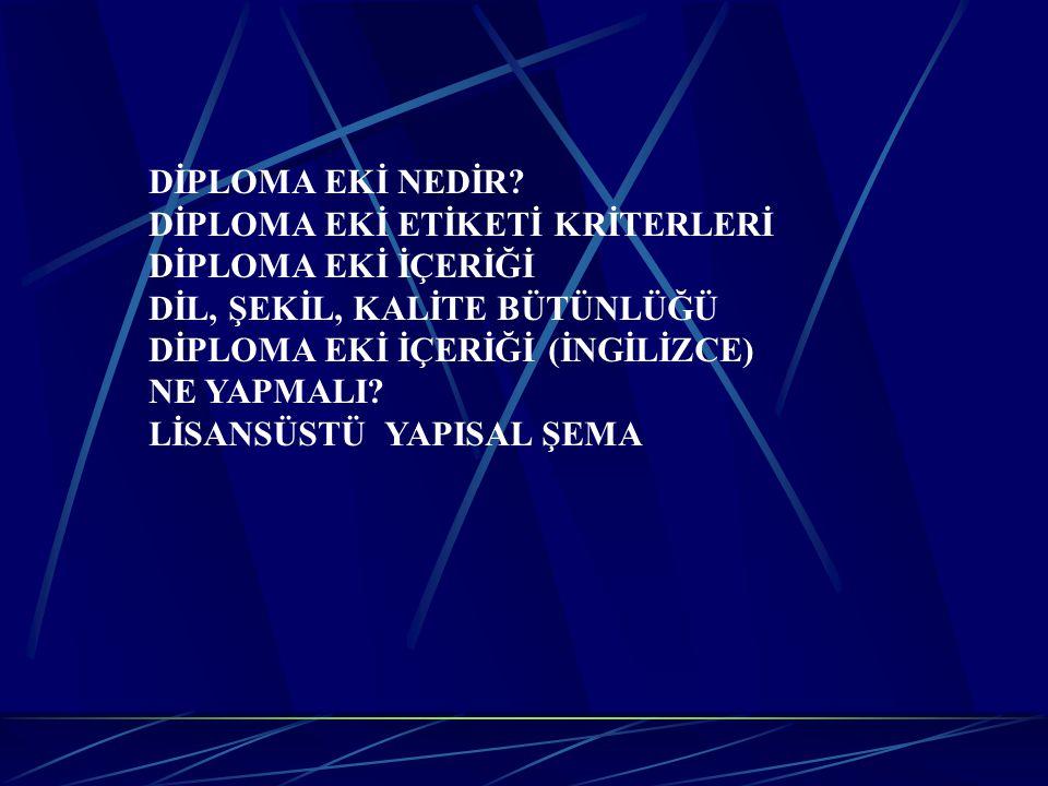 DİPLOMA EKİ NEDİR.