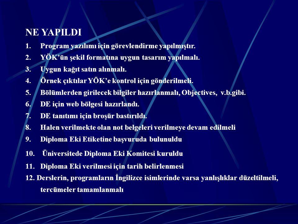 NE YAPILDI 1.Program yazılımı için görevlendirme yapılmıştır. 2.YÖK'ün şekil formatına uygun tasarım yapılmalı. 3. Uygun kağıt satın alınmalı. 4.Örnek