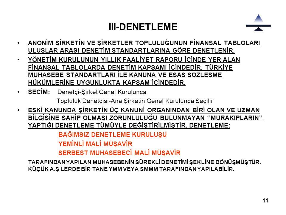 11 III-DENETLEME •ANONİM ŞİRKETİN VE ŞİRKETLER TOPLULUĞUNUN FİNANSAL TABLOLARI ULUSLAR ARASI DENETİM STANDARTLARINA GÖRE DENETLENİR. •YÖNETİM KURULUNU