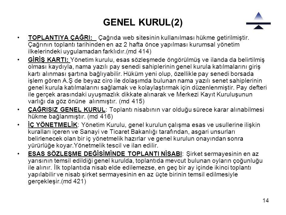 14 GENEL KURUL(2) •TOPLANTIYA ÇAĞRI: Çağrıda web sitesinin kullanılması hükme getirilmiştir.