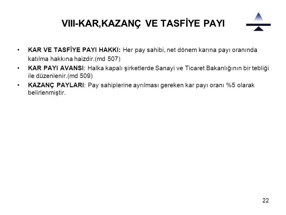 22 VIII-KAR,KAZANÇ VE TASFİYE PAYI •KAR VE TASFİYE PAYI HAKKI: Her pay sahibi, net dönem karına payı oranında katılma hakkına haizdir.(md 507) •KAR PA
