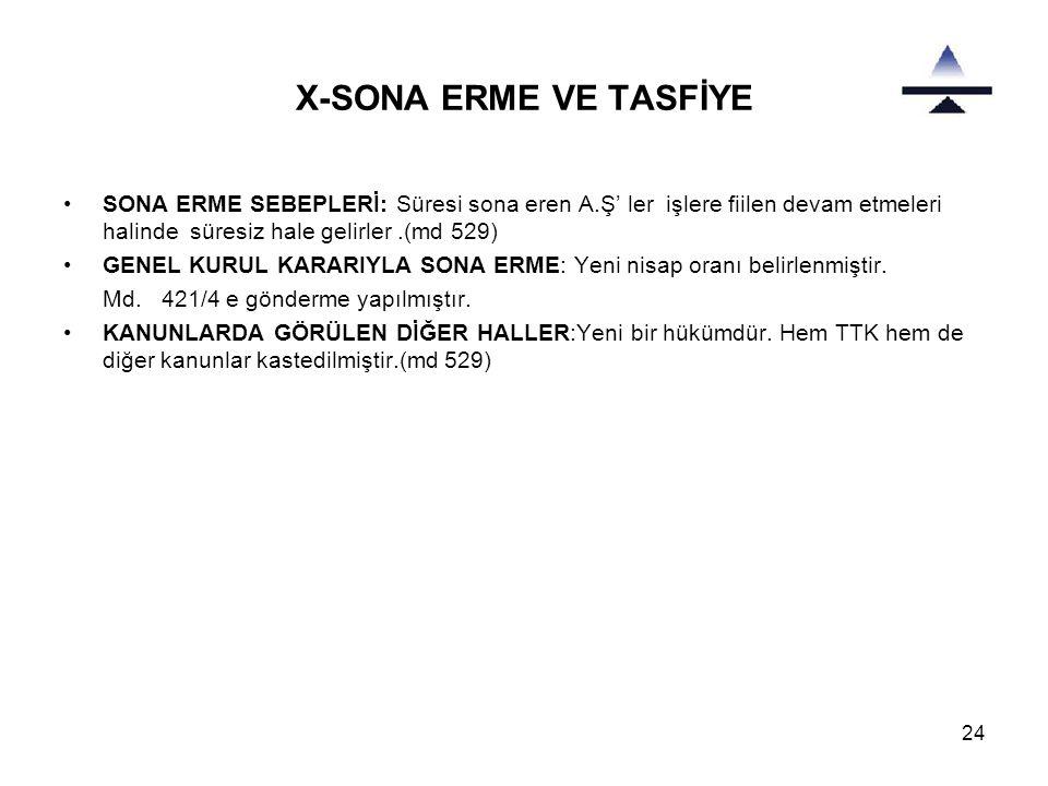 24 X-SONA ERME VE TASFİYE •SONA ERME SEBEPLERİ: Süresi sona eren A.Ş' ler işlere fiilen devam etmeleri halinde süresiz hale gelirler.(md 529) •GENEL K