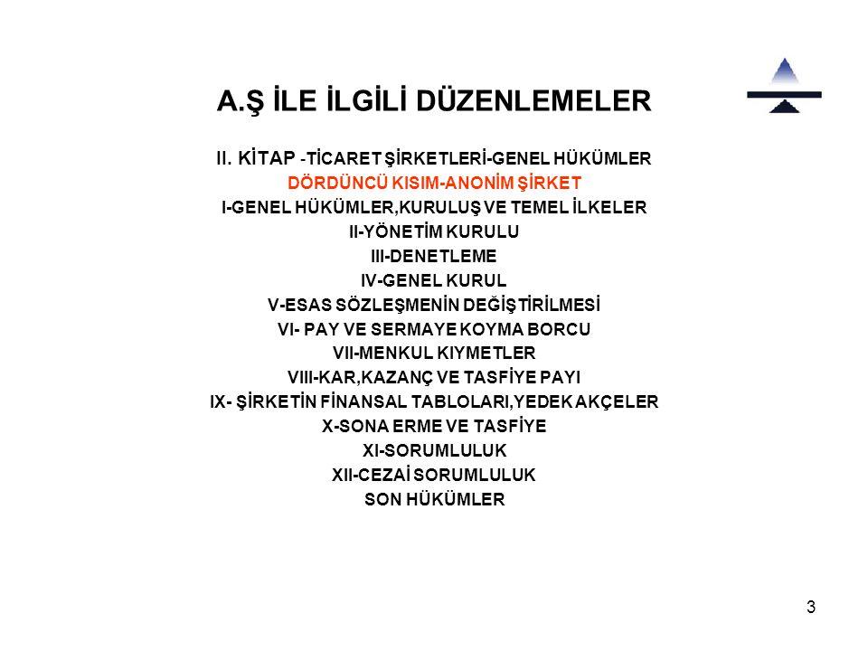 3 A.Ş İLE İLGİLİ DÜZENLEMELER II.
