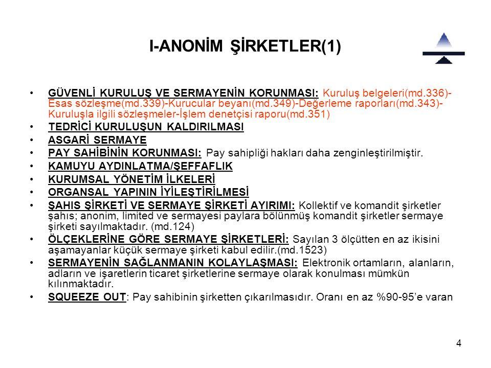 4 I-ANONİM ŞİRKETLER(1) •GÜVENLİ KURULUŞ VE SERMAYENİN KORUNMASI: Kuruluş belgeleri(md.336)- Esas sözleşme(md.339)-Kurucular beyanı(md.349)-Değerleme raporları(md.343)- Kuruluşla ilgili sözleşmeler-İşlem denetçisi raporu(md.351) •TEDRİCİ KURULUŞUN KALDIRILMASI •ASGARİ SERMAYE •PAY SAHİBİNİN KORUNMASI: Pay sahipliği hakları daha zenginleştirilmiştir.