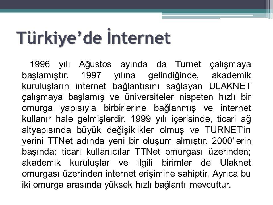 1996 yılı Ağustos ayında da Turnet çalışmaya başlamıştır. 1997 yılına gelindiğinde, akademik kuruluşların internet bağlantısını sağlayan ULAKNET çalış